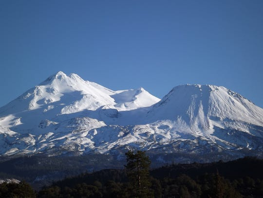Snow-capped Mt. Shasta, California's most iconic volcano,