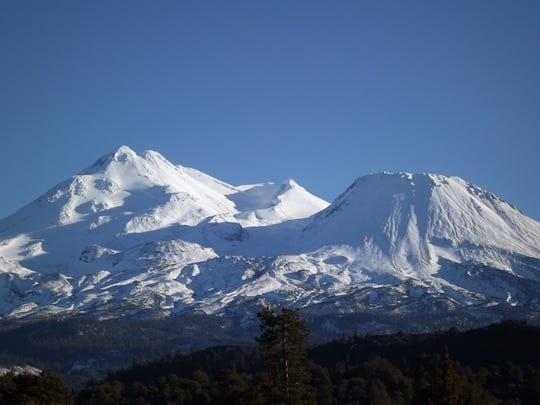 Snow-capped Mt. Shasta, California's most iconic volcano, towers over the landscape in far Northern California.