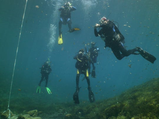 Members of Doña Ana Divers test their diving skills in Balmorhea,Texas.