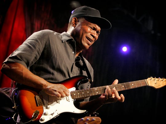 Blues icon Robert Cray performs with his signature Fender Stratocaster at a concert in Anaheim, Calif., on Jan. 17, 2009.