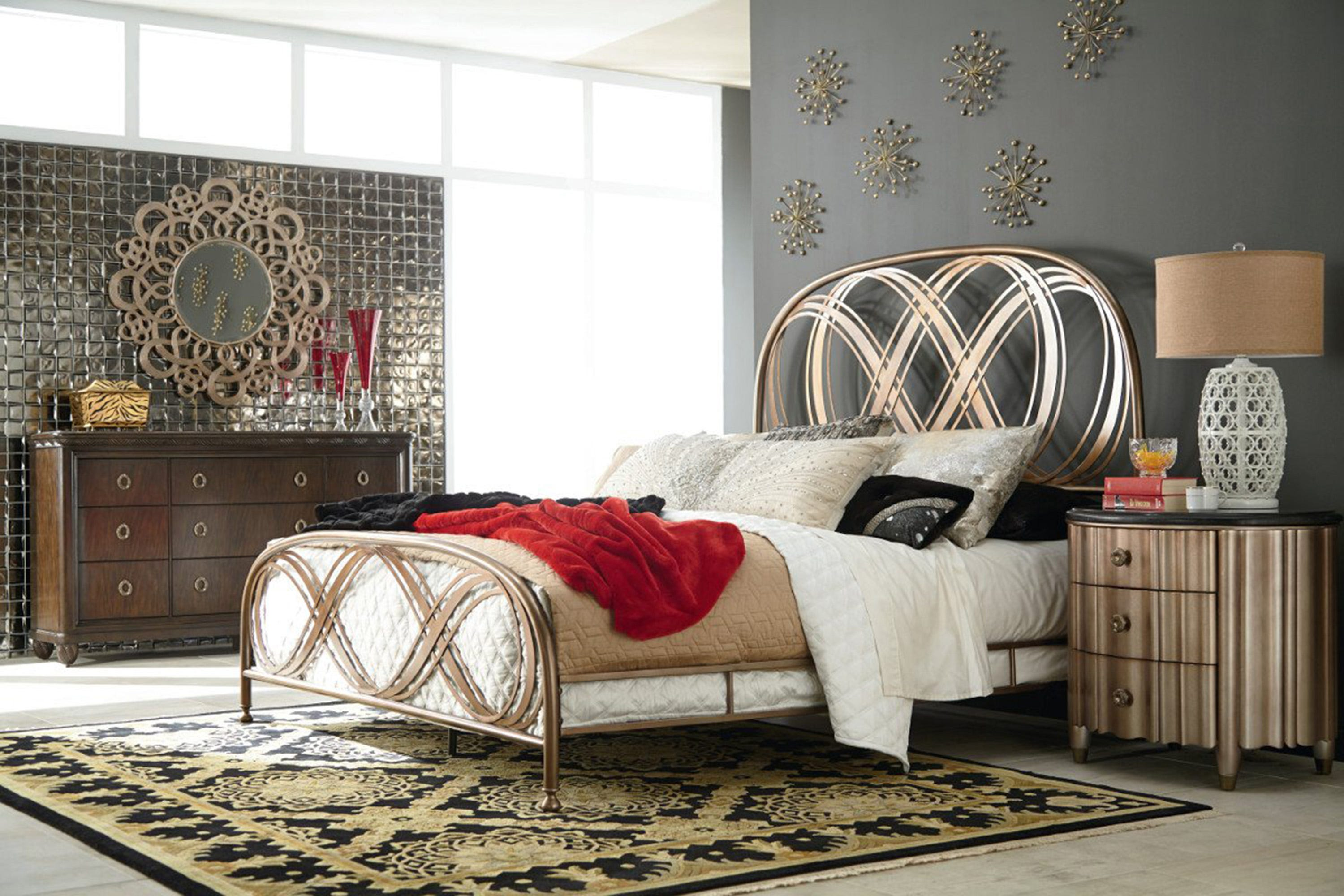 The basic iron or brass bed design has been reshaped it into exciting new forms. New finishes different metals and manufacturing techniques make them one ... & Metal beds take on a whole new vibe