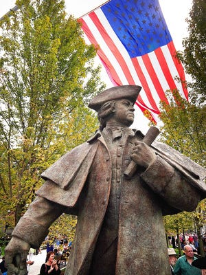 The John Adams statue in Quincy Center. Gary Higgins/The Patriot Ledger