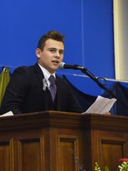 Ethan Brown, a graduating senior from Poughkeepsie Day School, gives his senior presentation during commencement.