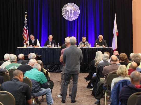 The Palm Springs City Council met in spacial meeting at the Palm Springs Convention Center to hear from residents in the wake of recent bribery, perjury and conflicts of interests charges filed against former Mayor Steve Pougnet and developers John Wessman and Richard Meaney. February 27, 2017.