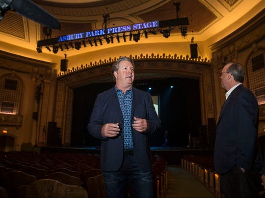 Tom Donovan, president of the Asbury Park Press unveils the new stage. The Asbury Park Press Stage at the Count Basie Theatre is unveiled prior to a very intimate evening with Pat Benatar & Neil Giraldo. Red Bank, NJTuesday, March 7, 2017.@dhoodhood
