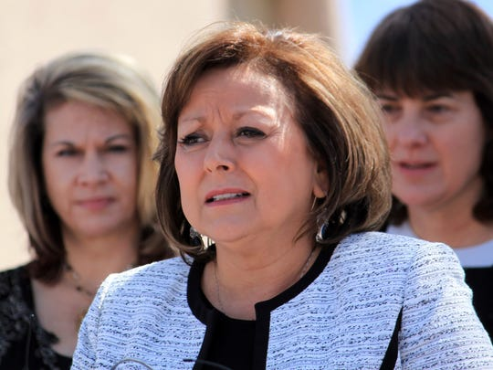 In this Thursday, April 6, 2017, file photo, New Mexico Gov. Susana Martinez talks during a bill signing ceremony in Albuquerque, N.M.