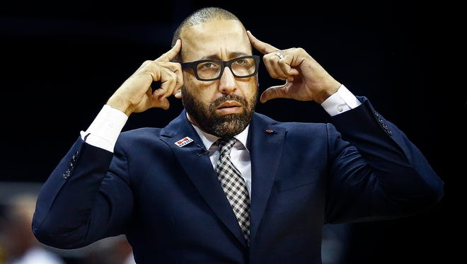 Memphis Grizzlies head coach David Fizdale during fourth quarter action against the San Antonio Spurs at the FedExForum on April 20, 2017 in Game 3 of their first-round series.