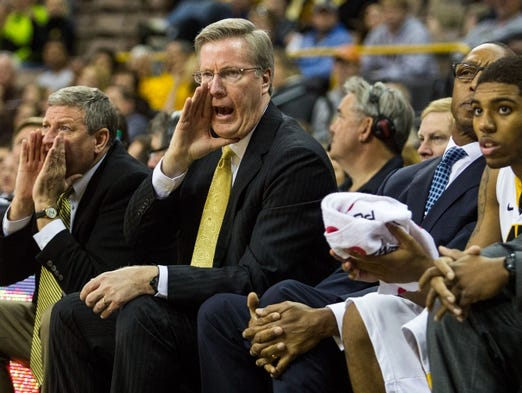 Iowa coach Fran Mccaffery calls out an offensive play Saturday afternoon, November 4, 2012, at Carver-Hawkeye arena in Iowa City. The Hawkeyes won handidly over the visiting Hawks from Quicy, 100-54 in the exhibition match-up.