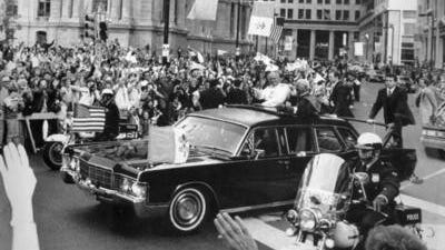 Pope John Paul II and John Cardinal Krol greet the crowd in downtown Philadelphia during the pope's visit in 1979. <137>Associated Press file<137>