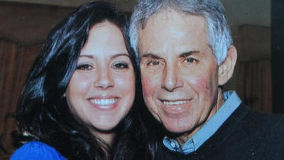 A photograph of Anne Marie Leamy with her father, Jeremiah Leamy, 62, before he died in 2010 of pancreatic cancer.
