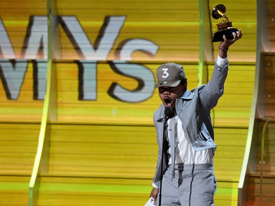 Chance The Rapper accepts Best New Artist during the 59th Annual Grammy Awards at Staples Center.