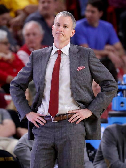 USC head coach Andy Enfield watches during the second half of an NCAA college basketball game against Arizona State, Sunday, Feb. 26, 2017, in Tempe, Ariz. (AP Photo/Matt York)