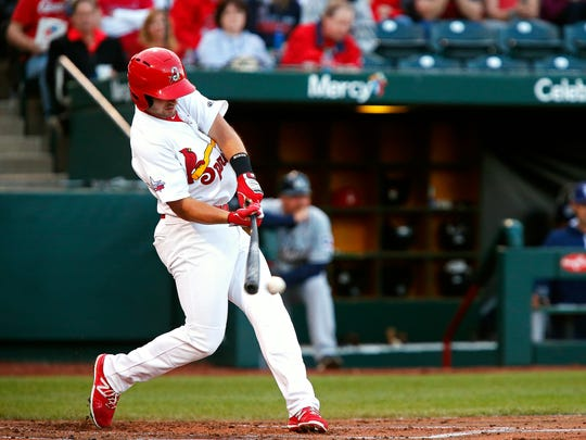 St. Louis Cardinals infielder Paul DeJong takes a swing as a member of the Springfield Cardinals in 2016.