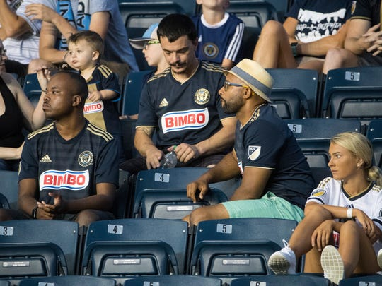 Mark McKenzie, right watches his son of the same name Mark McKenzie play for the Philadelphia Union in defense during their Lamar Hunt U.S. Open quarterfinal game against Orlando City at Talen Energy Stadium.