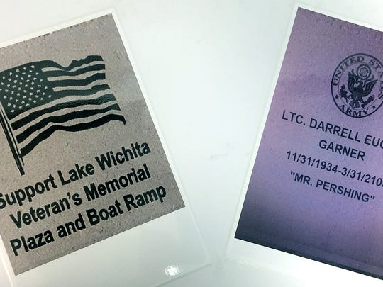 Two examples of brick designs for Veterans Memorial Plaza at Lake Wichita. Brick sales raise funds for building the plaza.