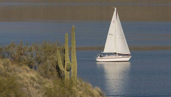 This sail boat on Lake Pleasant is definitely a boat, not a ship.