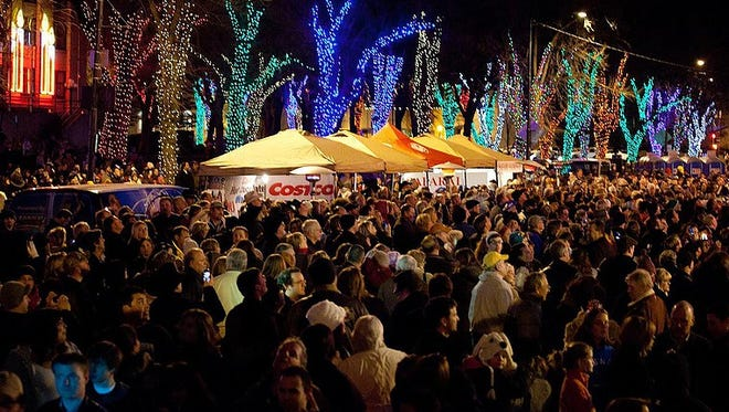 Thousands of people celebrate the new year on Whiskey Row in Prescott.