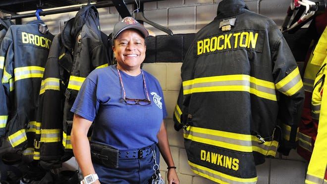 Brockton's first female firefighter Carol E. Dawkins, after a distinguished military career in the United States Army Reserves and United States Navy Reserves Is retiring after 21 years and 4 months with a reception at Station 6, Saturday, Aug. 22, 2020.