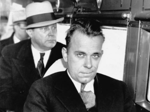 John Dillinger, shown here in 1934, was a Depression-era bank robber who was born in Indianapolis. His gang robbed two dozen banks and four police stations.