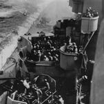 A Japanese kamikaze heads for the USS Missouri during the Battle of Okinawa in the Pacific Ocean on April 11, 1945.