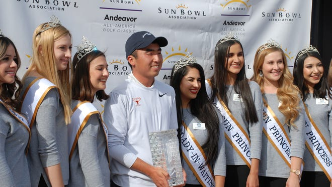 Doug Ghim of the University of Texas poses with the Sun Bowl court after his win Tuesday at El Paso Country Club.