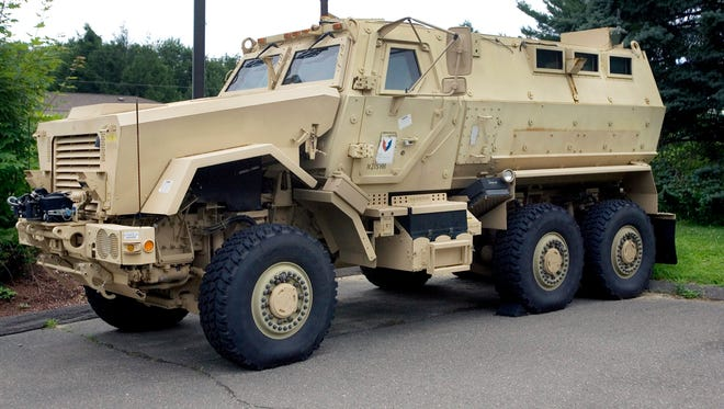 The Marshfield Police Department could receive an armored vehicle from the military, similar to the one pictured in this 2014 file photo from Watertown, Connecticut.