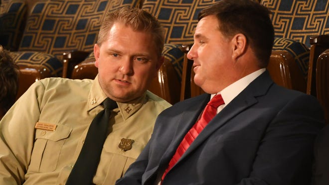 Jon Bridgers, on the right, attended the State of the Union address in January 2018 as a guest of President Donald Trump. Bridgers is an officer in Cajun Navy 2016, a rescue group that has changed its name in the wake of accusations against Bridgers and other Cajun Navy groups.