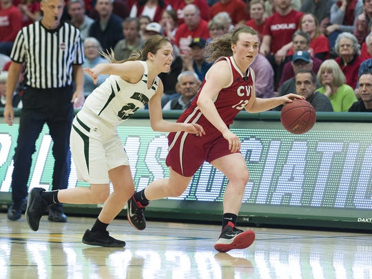 CVU's Marlee Gunn (13) dribbles the ball down the court
