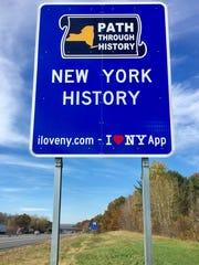 "The state Department of Transportation and Thruway Authority have dotted New York highways with these ""I Love NY"" tourism signs, which are generally in groups of five."