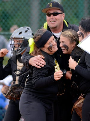 Billingsley celebrates their win over Falkville during the first round of the AHSAA state softball championships at Lagoon Park on Thursday, May 15, 2014.