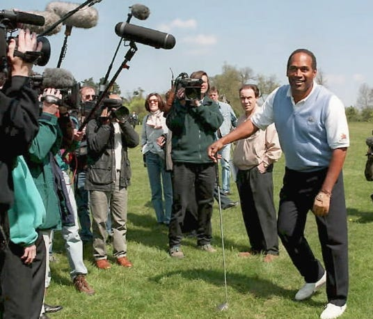 If he's paroled, don't expect to see many golf/TV tours similar to the one O.J. Simpson did in the United Kingdom in 1996.