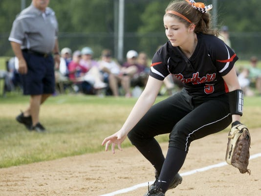 Kelsey Wisner of Central York runs down a ground ball during Tuesday's District 3 Class AAAA softball game. The Panthers fell behind 4-0 after two innings and only recorded four hits on the afternoon in their 5-1 loss to Chambersburg.