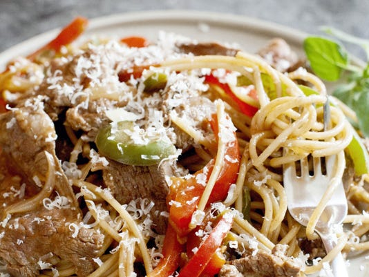 Easy Steak and Cheese Pasta.