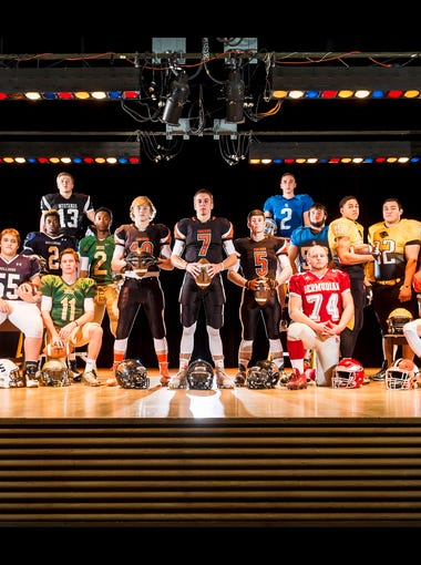 Front row (seated or kneeling), from left to right: New Oxford's Brock Hartman, West York's Logan Loucks, York Catholic's Dan Yokemick, Bermudian Springs' Logan Luckenbaugh and Central York's Rodney Johnson. Middle row (standing), from left to right: Biglerville's Victor Lopez, Delone Catholic's Tavian Dorsey, West York's Terry Cains, York Catholic's Jakkar Kinard, York Suburban's Collin Mailman, York Suburban's Thomas Merkle, York Suburban's Dustin Knaub, Spring Grove's Andrew Lawson, Red Lion's Kendrick Boyd-Gillespie, Red Lion's Nick Argento, Northeastern's Shamari Young, Northeastern's Fred Mulbah and Northeastern's Fernando Flores. Back row (on ladders): South Western's Corbin Byers and Spring Grove's Andrew Luckenbaugh. Not pictured: Susquehannock's Nick Tannura and Dallastown's Jordan Burns, Jacob Garrity, Jake Jansen and William Reilly.  GameTimePA's all-star football players. Picture taken Monday, Nov. 23, 2015, at Hanover High School.