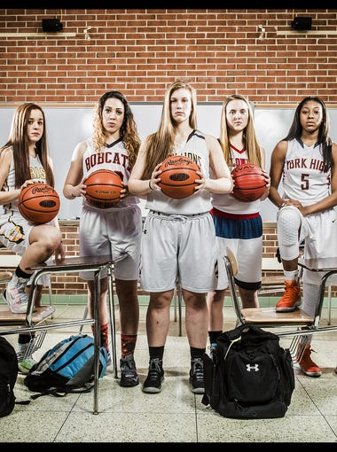 From left: Susquehannock's Ashley Stone, York Catholic's Kate Bauhof, Northeastern's Jordyn Koster, Red Lion's Courtney Dimoff, New Oxford's Kaelyn Long, William Penn's Chyna Steel and Central York's Emma Saxton.  GameTimePA's all-star players. Picture taken Monday, March 14, 2016, at York Suburban.