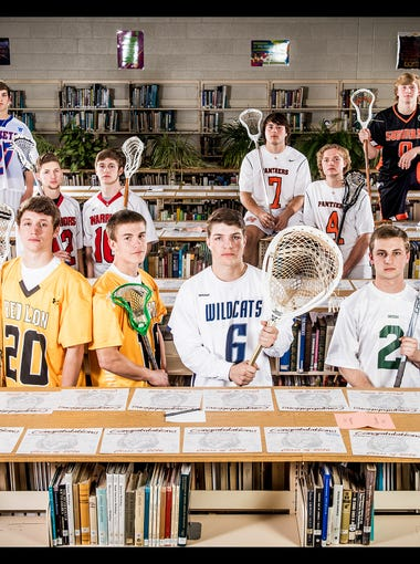 Front row, left to right: Red Lion's Sam Emig, Red Lion's Alex Keough, Red Lion's Jac Gemmill, Dallastown's Jack Marks, York Catholic's Tanner Yanick and York Catholic's Jacob Norton. Middle row, left to right: Susquehannock's Anthony DeVincent, Susquehannock's Dorian Faster, Central York's Katon Yantek and Central York's TJ Ross. Back row, left to right: Spring Grove's Tanner Bolton and York Suburban's Collin Mailman.GameTimePA's all-star boys lacrosse players. Picture taken Wednesday, May 18, 2016, at Northeastern.