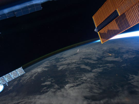 Perseid meteor seen from space station