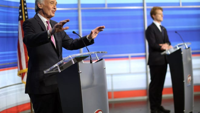 In this June 8 file photo, Sen. Edward Markey, left, D-Mass., and challenger Rep. Joseph Kennedy III, D-Mass., participate in a televised debate ahead of the Democratic primary, in East Providence, R.I.