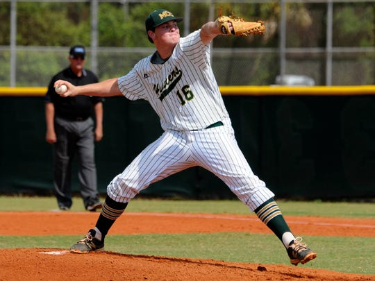 Melbourne Central Catholic pitcher Mark Potter throws