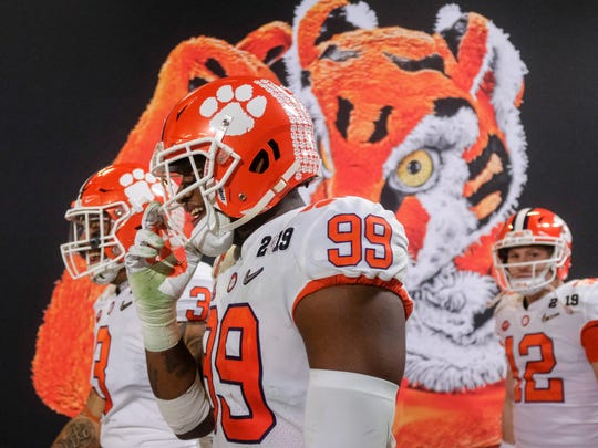 Jan 7, 2019; Santa Clara, CA, USA; Clemson Tigers defensive end Clelin Ferrell (99) walks out of the locker room after halftime against the Alabama Crimson Tide during the 2019 College Football Playoff Championship game at Levi's Stadium. Mandatory Credit: Adam Hagy-USA TODAY Sports