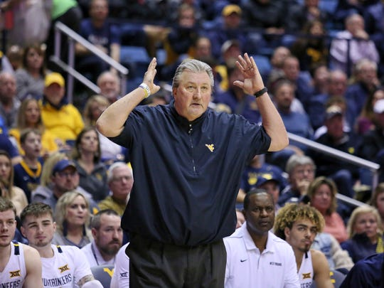 West Virginia coach Bob Huggins reacts to a call during the second half of the team's NCAA college basketball game against Oklahoma State on Tuesday, Feb. 18, 2020, in Morgantown, W.Va. (AP Photo/Kathleen Batten)