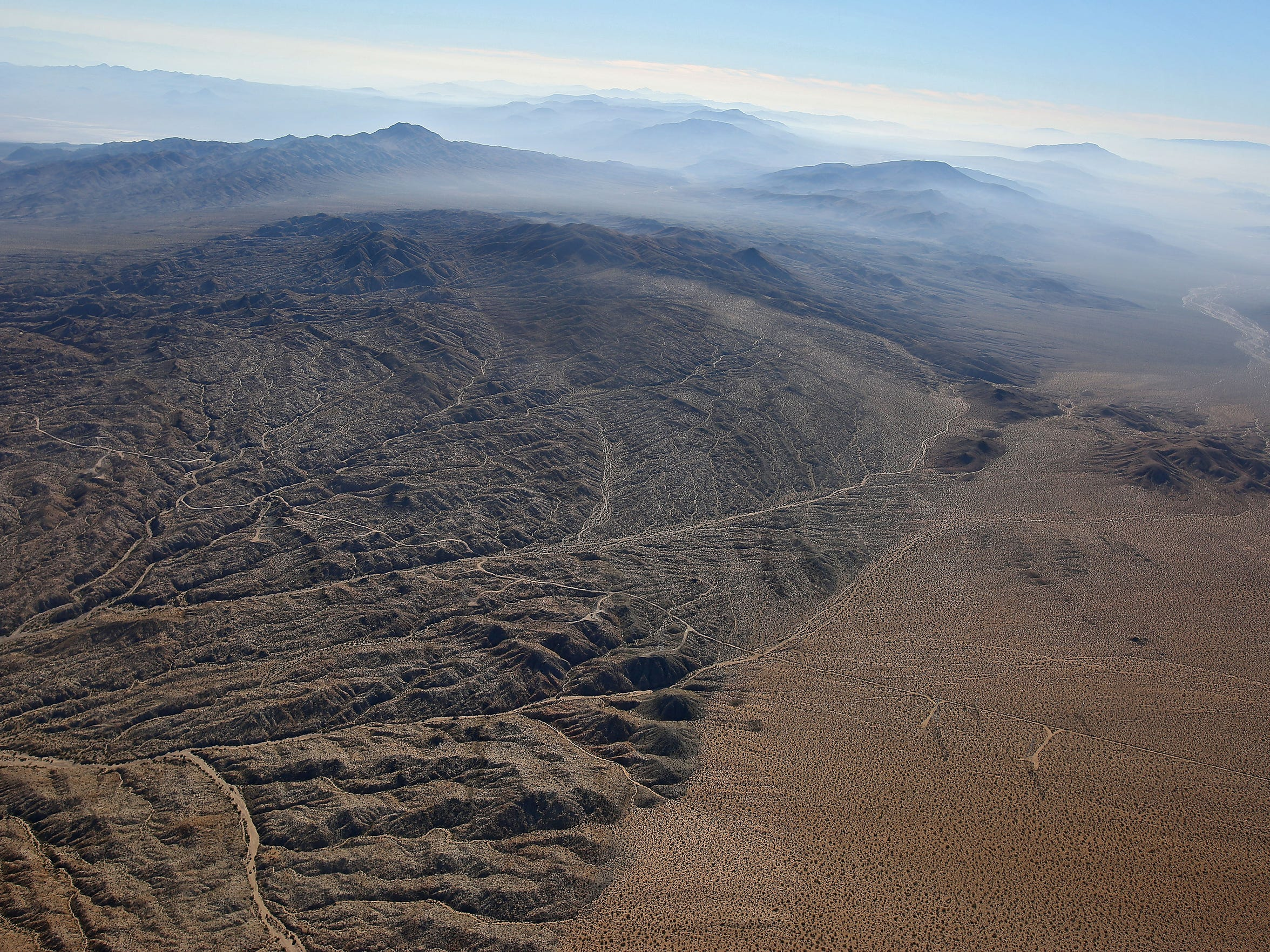 An aerial photo of the Mojave Desert northeast of Twentynine Palms, California, taken on Oct. 20, 2014.