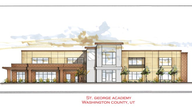 A rendering of the exterior of the St. George Academy building.