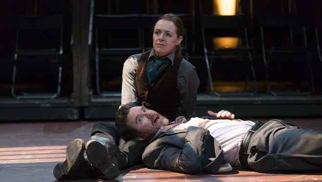 """Andrus Nicholas and Eric Tucker in a scene from """"Saint Joan."""""""