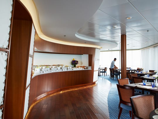 Breakfast is usually served in this restaurant aboard The World. There are three other restaurants aboard the ship.