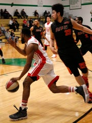 The Binghamton Bulldogs' Moni Anderson drives baseline