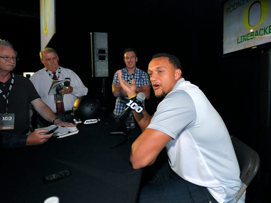 Oregon linebacker Rodney Hardrick speaks to reporters during NCAA college Pac-12 Football Media Days, Friday, July 31, 2015, in Burbank, Calif.