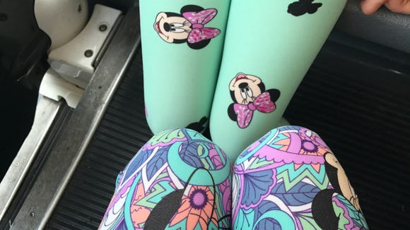 We are loving these adorable Minnie-print leggings from LulaRoe, purchased at Disney's D23 Expo at Anaheim Convention Center. Credit: Sharon Fisher