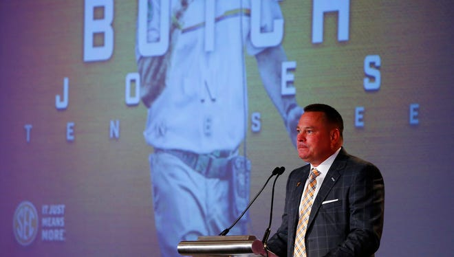 Tennessee football coach Butch Jones speaks during SEC Football Media Days on Monday, July 10, 2017, in Hoover, Ala.
