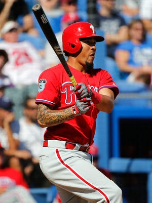 Philadelphia Phillies shortstop J.P. Crawford hits during a spring training game March 11 against the Toronto Blue Jays at Florida Auto Exchange Stadium.